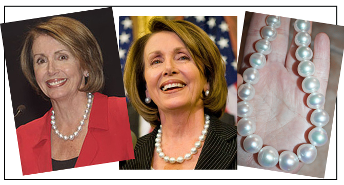 Nancy Pelosi wearing Tahitian Pearls