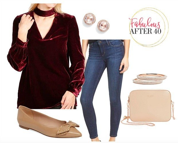 Velvet Collar Blouse