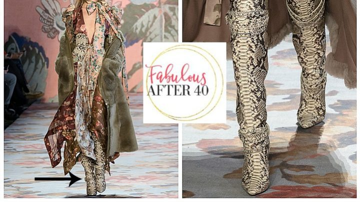 Snake Print Trend - Runway to Reality | Snake Print Boots worn with Boho Maxi Dress and Faux fur coat | Fabulous After 40