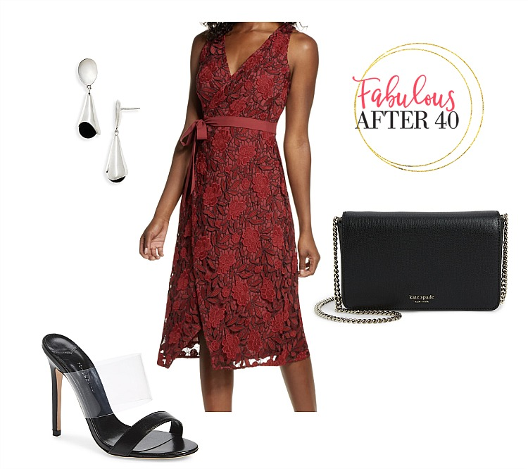 Wedding guest Dress - Red Lace wedding guest dress