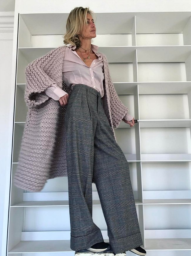 wide leg pants and chunky knit sweater