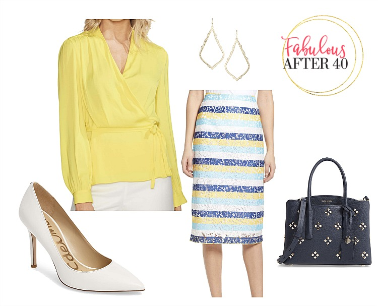 Boldly striped Blue, white and yellow classic lace pencil skirt with white pumps and navy bag