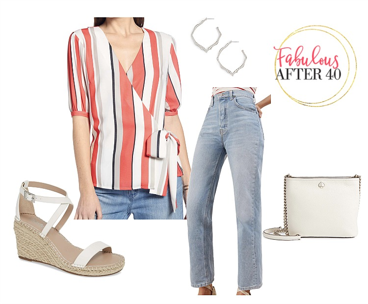 Bold Striped outfit - Red, white, gray boldy striped wrap top with neutral colored mom jeans and rope sandals