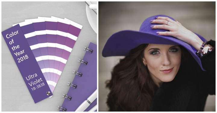 Pointers on wearing purple this Fall |ultra violet purple paint chips beside woman wearing a purple hat | Fabulous After 40