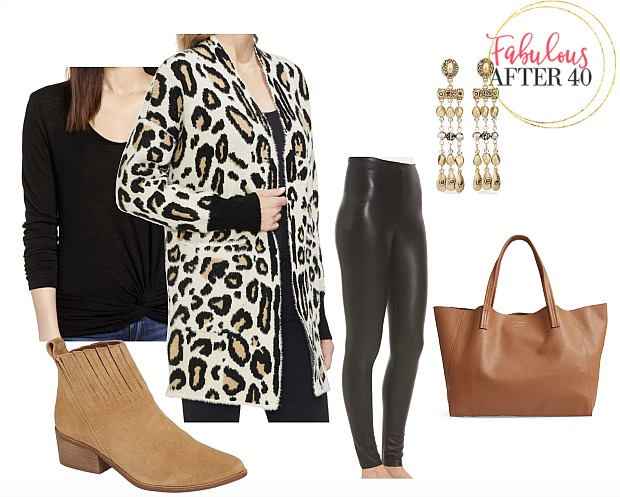 Leather Leggings - Cheetah Cardigan