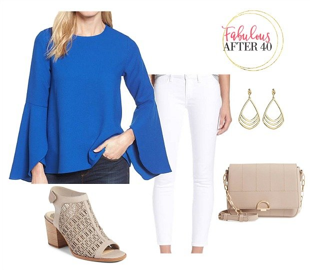 White Jeans and blue top for women over 40