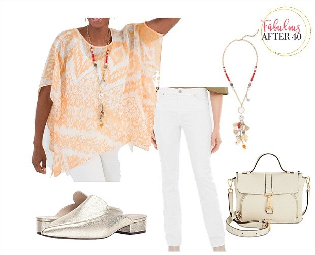 White pants with orange top for what to wear to a baby shower guest