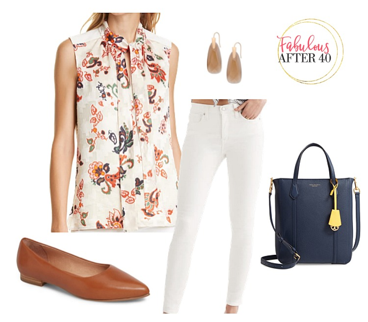White Pants After Labor Day - Sleeveless Tie Neck