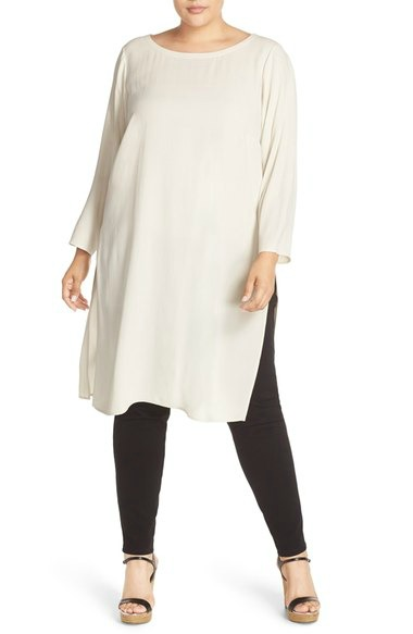 White Plus Size Tunic With Leggings Fabulous After 40