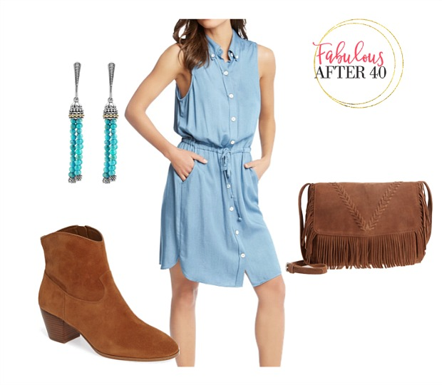 61514a4e766a What to Wear to a Country Music Concert - Denim shirtdress, turquoise  jewelry, cowboy