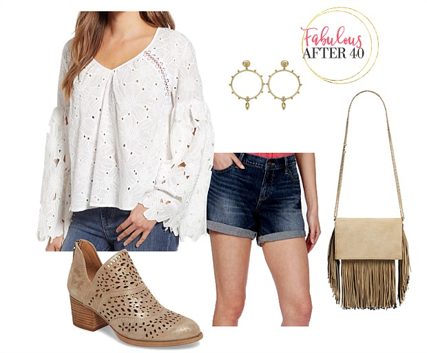 What to Wear to a Country Music Concert - Eyelet Bell Sleeve Top, jean shorts, cowboy booties and fringe bag outfit styled by Fabulous After 40 | Deborah Boland