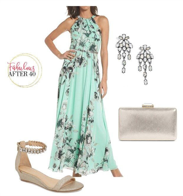 33f87041c7 Beach Wedding - Mint Floral Maxi