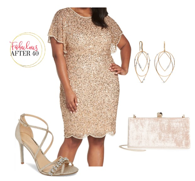 Plus size MOB Dress - Gold Beaded