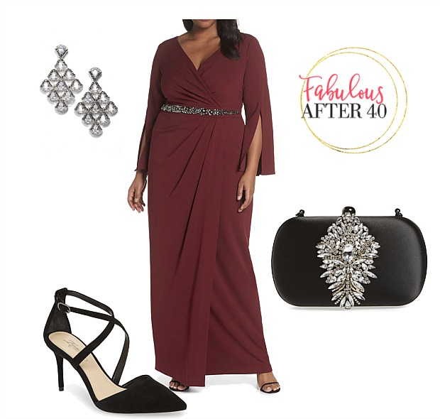 Plus size MOB gown - Wine