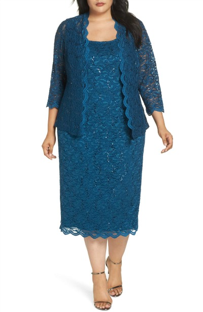 plus size MOB dress - teal lace with jacket