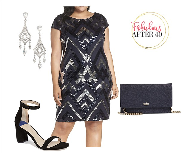 plus size holiday party dress balck and silver sequins