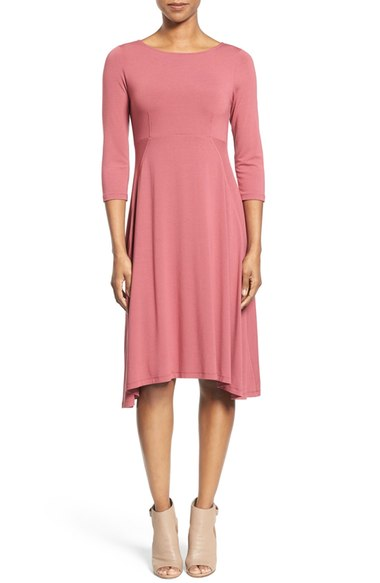 asymmetrical hemline jersey bateau dress