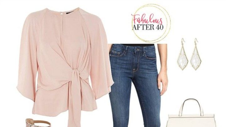 Tie-front blouse for girls lunch