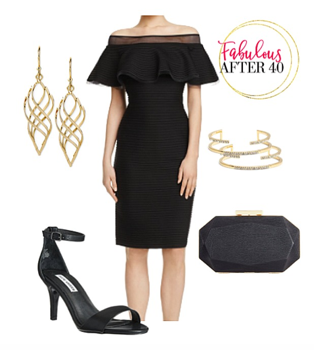 What to wear to an evening wedding reception  - Black off the shoulder