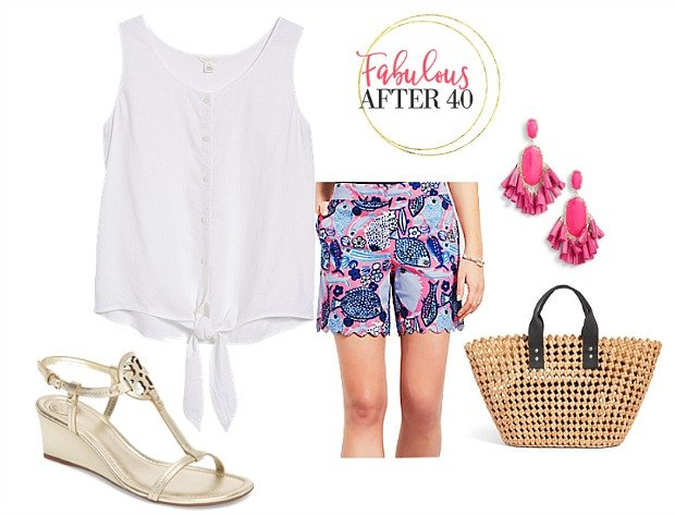 Beach Vacation Outfit - Blue Fish Print shorts and white tie blouse styled by Fabulous After 40