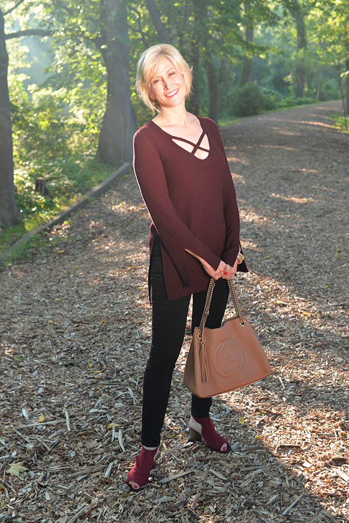 Wine Tunic Crisscross Sweater