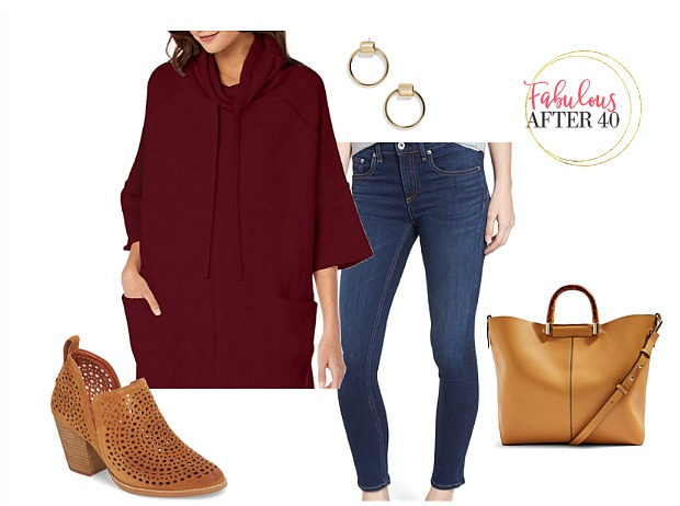 Fall Ponchos to Jazz Up your jeans | Wine poncho with jeans styled by Fabulous After 40 | Deborah Boland