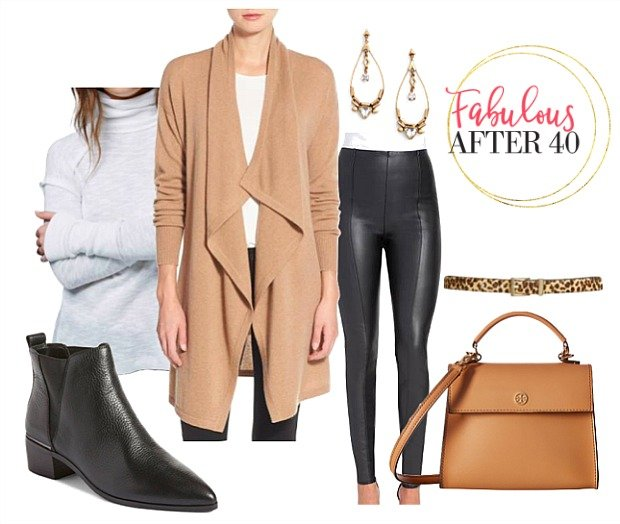 Tan Cardigan Leather Leggings