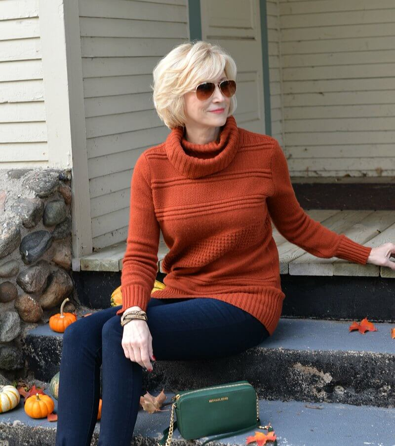 Pumpkin Colored Sweater for women over 40