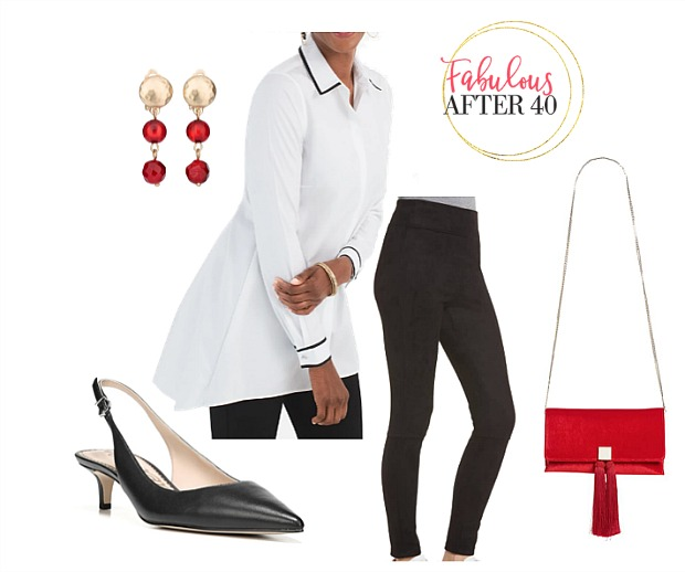 Christmas party outfit ideas with leggings - White shirt with black trim, leggings, red bag | styled by Fabulous After 40