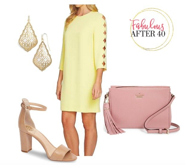 Yellow - Cut out Sleeve Dress