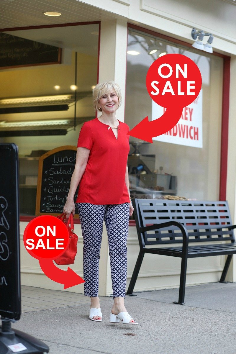 Red Blouse and Navy Nautical Print Pants worn by Deborah Boland - Fabulous After 40