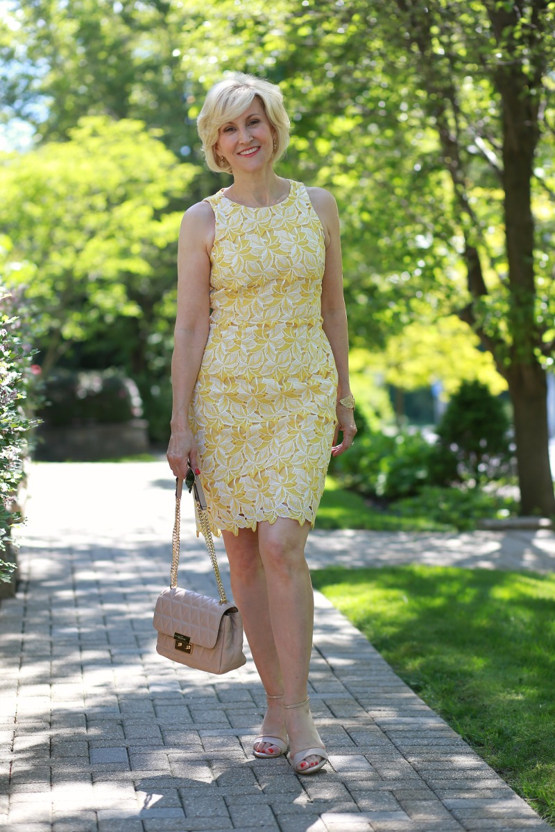 Yellow lace dress for women over 40 | Deborah Boland | Fabulous After 40
