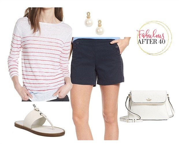 deb33653eaab Shorts Outfit for over 40- Navy shorts and red striped top styled by  Fabulous After