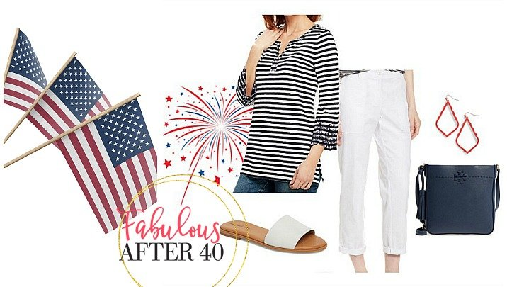 Blue and white striped top and jean outfit for what to wear on the 4th of july styled by Fabulous After 40