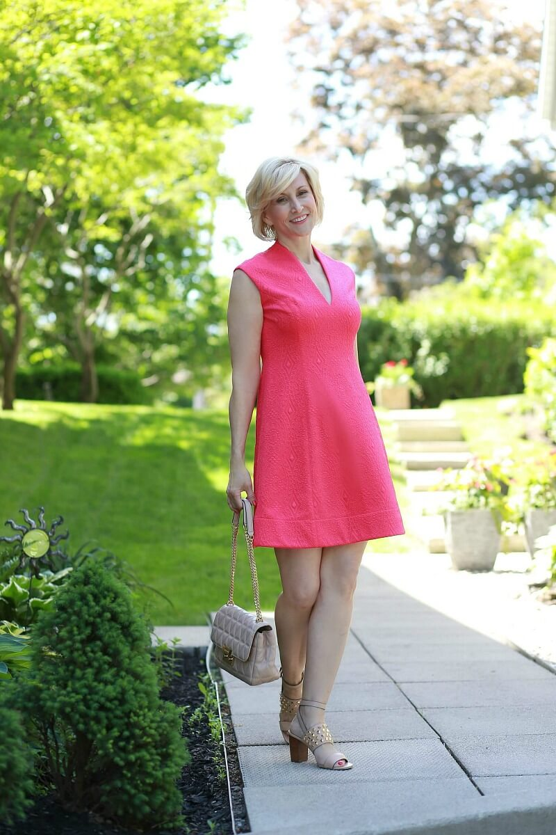 hot pink vneck dress 6