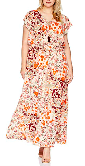 a maxi dress inspired by classic fall colors and a pretty floral print