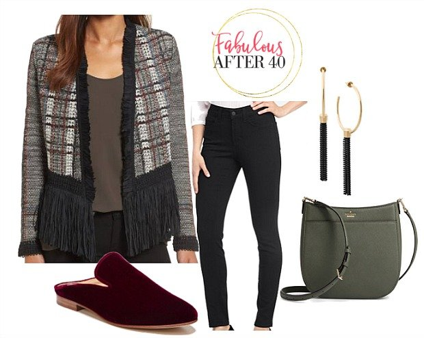 How to wear Fringe - balck knit Fringe Tweed Jacket Black Skinny Jeans outfit