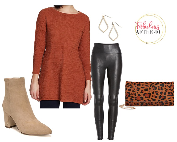 Long-tops-for-Leggings-Rust-Ribbed-sweater