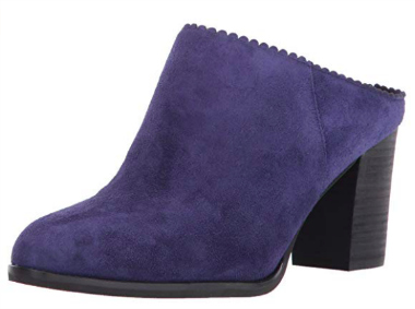 purple suede booties with scalloped edges