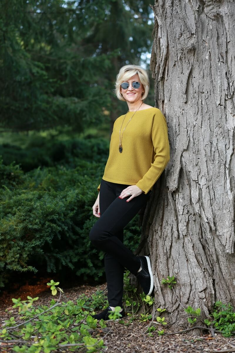 Mustard yellow knit sweater - Eileen Fisher