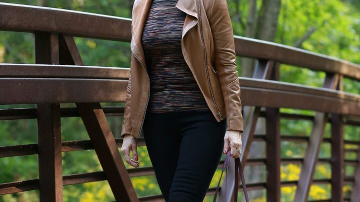 tan leather moto jacket black jeans