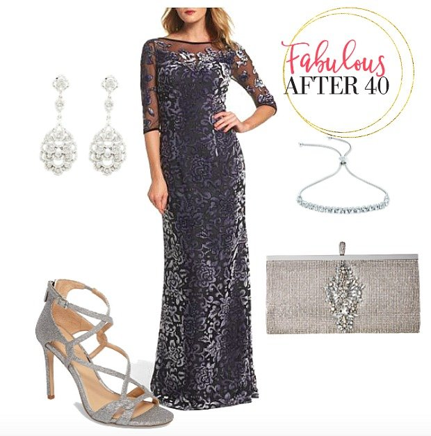 Navy Lace Overlay Gown Silver Shoes