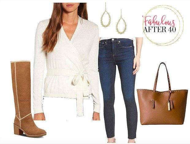 Cream Wrap Sweater Skinny Jeans