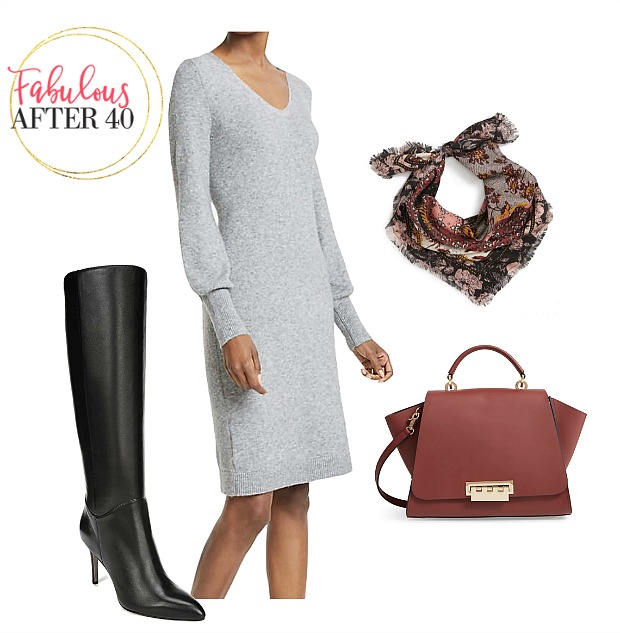 How to Wear a Sweaterdress | Gray Sweaterdress with Tall black boots