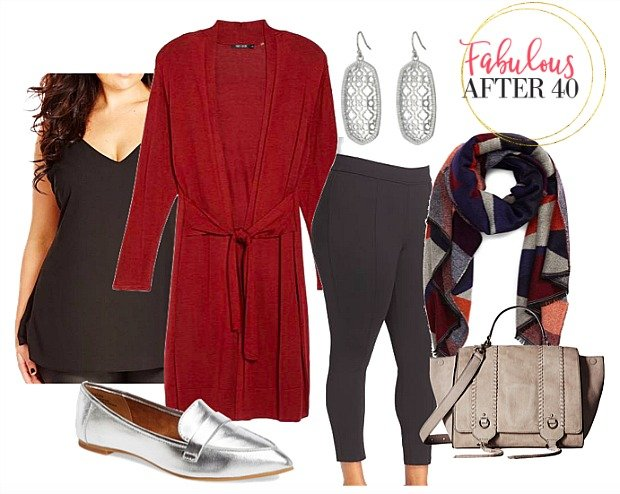 Plus Size Leggings , Red Cardigan | styled by Fabulous After 40