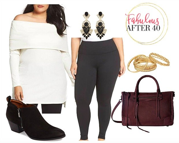 Plus Size White Off the Shoulder Sweater with Leggings