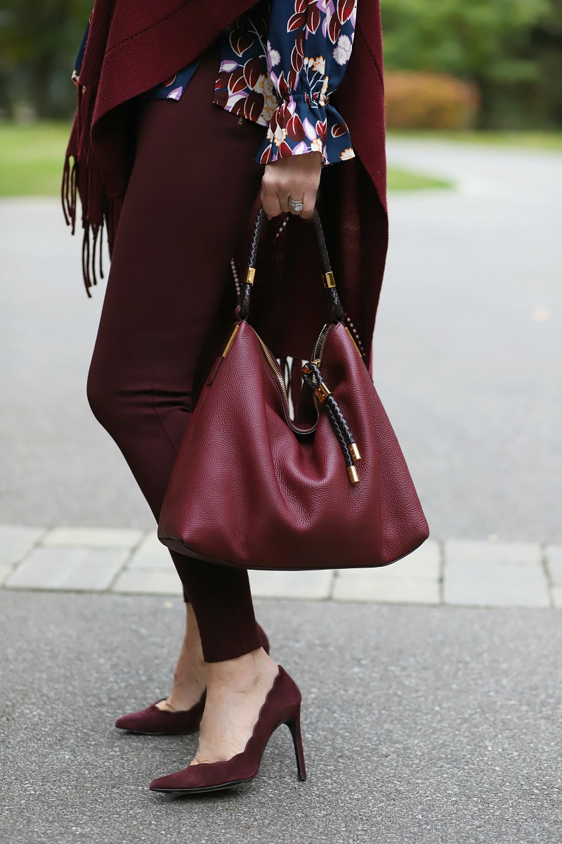 burgundy leather purse and suede shoes