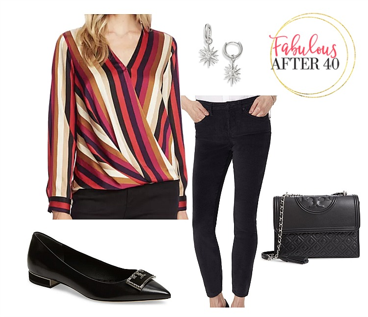 Casual Holiday Party Outfit l Striped Blouse, black jeans l styled by Fabulous After 40