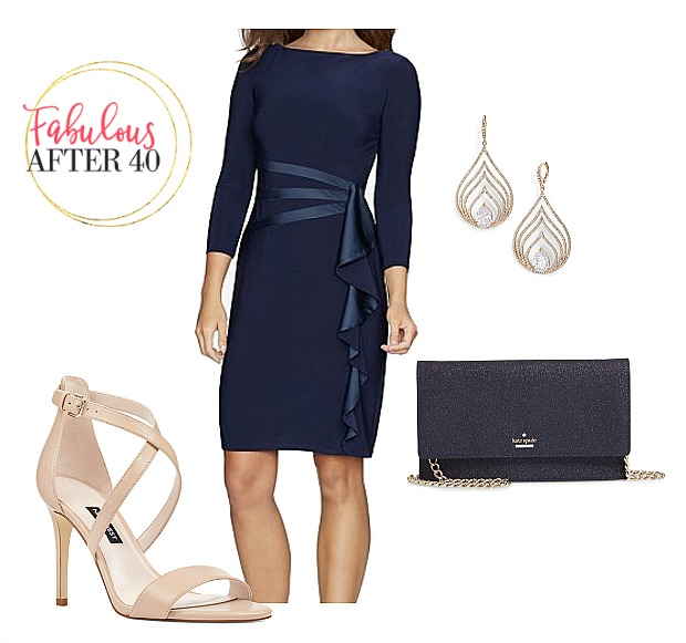 Office Holiday Party Dress - Navy Dress with Satin Bow and Nude shoes | Fabulous After 40