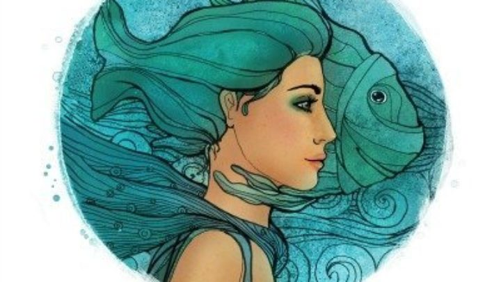 Illustration of pisces zodiac sign as a beautiful girl